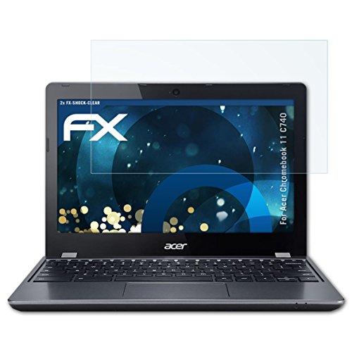 atFolix Schutzfolie kompatibel mit Acer Chromebook 11 C740 Panzerfolie, ultraklare und stoßdämpfende FX Folie (2X)