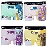 Bongual 2-4St Geschenkidee Herren Retroshorts Unterhose Baumwolle Spass Motive Geldscheine Euroscheine Witz (M, 4xEuro)