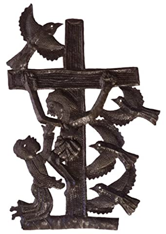 Le Primitif Galleries Haitian Recycled Steel Oil Drum Outdoor Decor, 11.25 by 16.25-Inch, Crucifix No. 2