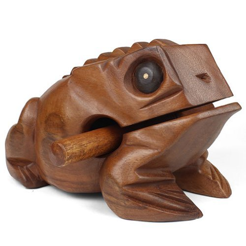 Mystery Mountain Medium Wooden Croaking Frog-Fair Trade Percussion Instrument-Fun for All Ages, Wood, Brown, 16 x 10 x 10 cm