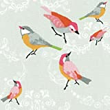 A Little Bird Fabric - pinks, yellow, greys and green on grey white base cloth | 100% Cotton Designer Print | 160 cm (63 inches) wide | Per half metre