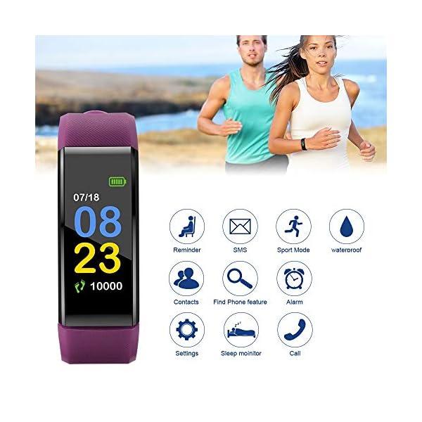 115plus Fitness Tracker Pulsera inteligente Pantalla a color Bluetooth Reloj deportivo Monitor de frecuencia cardíaca / presión arterial Podómetro Paso Contador de calorías Púrpura AC1423. Accesorios 2