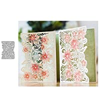 wiFndTu Cutting Dies, Flower Frame Metal Cutting Dies DIY Scrapbook Greeting Paper Cards Album Stencil - Silver