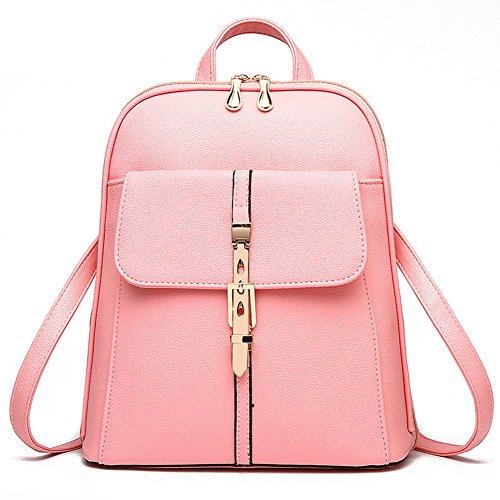 Estwell Impermeabile Zaino In Pelle Pu Casual Daypack Borsa Da Viaggio Scuola Borsa Per Le Donne Ragazza Rosa