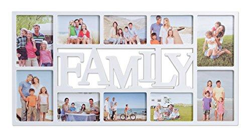 Bilderrahmen Collage Family Weiß - In 2 Größen - Fotocollage XXL Für 10 Fotos - Familie Bildergalerie aus Kunststoff - 71x36 cm