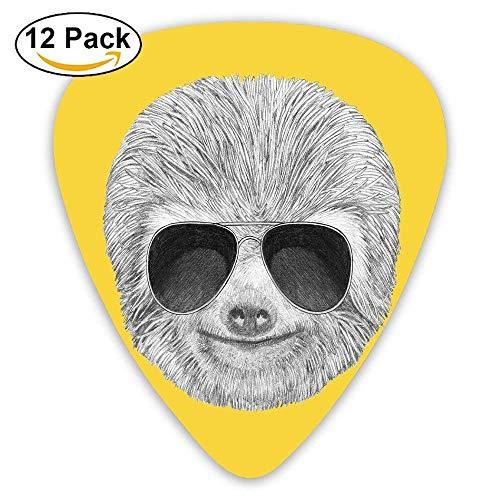 Hipster Jungle Animal mit Sonnenbrille lächelnd lustiger Ausdruck cooler Charakter drucken Plektren 12 Pack Für E-Gitarre, Akustikgitarre, Mandoline und Bass