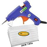 Pistola per colla a caldo con 50 pezzi 19 cm stick di colla Jamber - Mini Hot fusione Gun 20 Watt, alta temperatura di fusione Glue Gun Trigger kit flessibile rapido per riparazioni fai da te, hobby, bricolage, in casa o ufficio (blu)