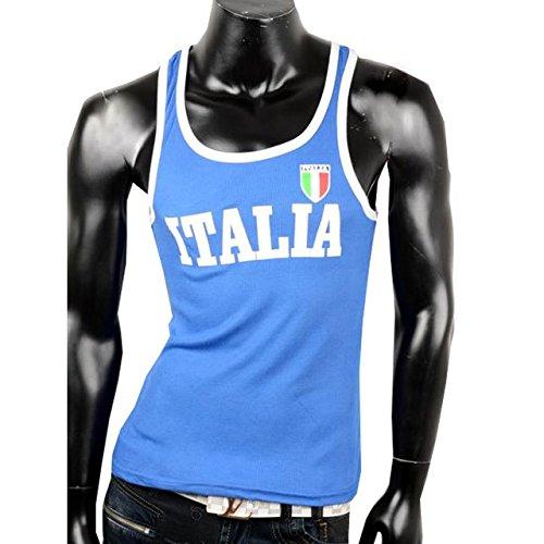 Canotta da uomo canottiera sportiva da uomo Fitness T-Shirt spalla da Italia blu