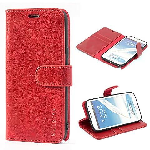 Mulbess Ledertasche im Ständer Book Case / Kartenfach für Samsung Galaxy Note 2 Tasche Hülle Leder Etui,Wine Rot