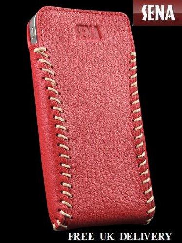 Sena Cases Sarach Ultraslim Leder Tasche für iPhone 4/4S-Verkaufsverpackung, rot/Creme -