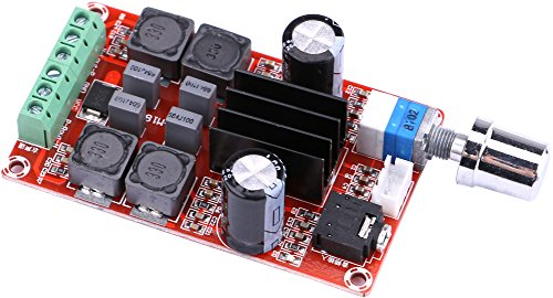 Yeeco 50W + 50W Digitale Endverstärkerbrett High Power Audio Sereo Verstärkermodul DC 9-25V Stereo AMP für DIY Lautsprecher Auto Fahrzeug Auto Computer-Audio-System mit Einstellen der Lautstärke-Regler Heatsink