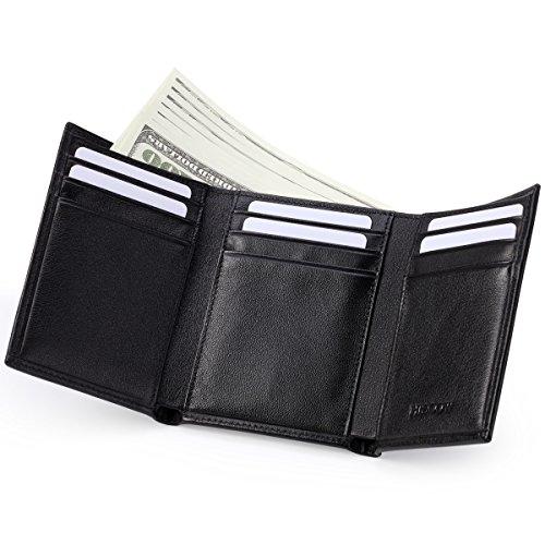 hiscow Trifold Wallet Schwarz mit 9Kreditkartenfächer–italienischem Kalbsleder (Tri-fold Wallet Large)
