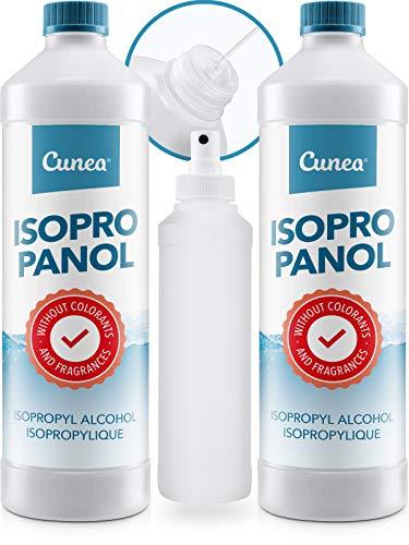 Cunea Isopropylalkohol 99,9% Reinigungsalkohol Isopropanol Entfetter Sprühflasche - Fettlöser für Werkstatt Industrie & Haushalt 2X 750ml + Sprayflasche - Alkohol-frei Reiniger