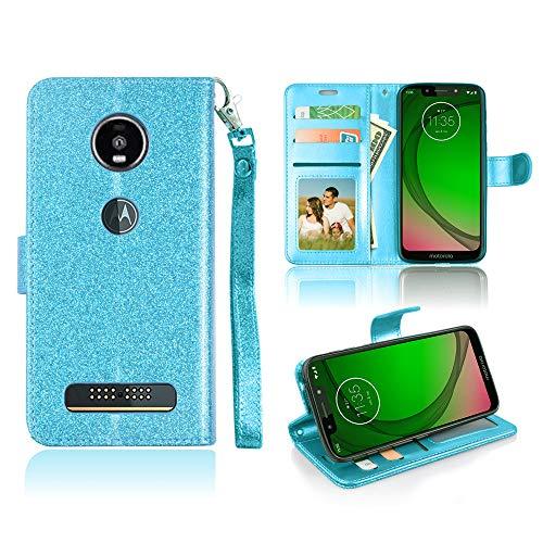 Schutzhülle für Moto Z4 Play Sparkle Wallet Case Glitzer Kreditkartenfächer Geldbörse Bling Kunstleder Schutzhülle für Motorola Z4 Play, 6.22 Inch, blaugrün