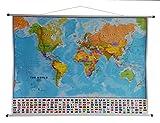Mapa Político Mundial Laminado de Maps International con Banderas de Todos Los Países