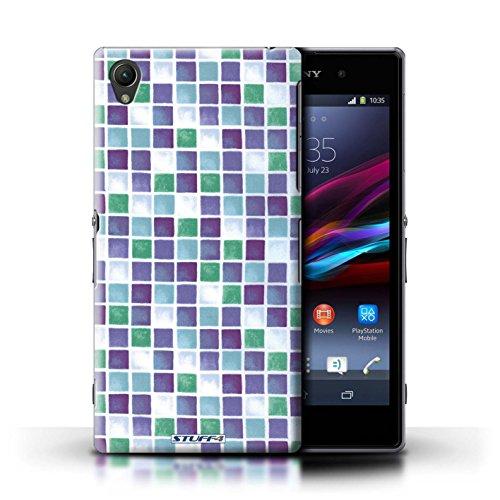 Kobalt® Imprimé Etui / Coque pour Sony Xperia Z1 / Rose conception / Série Carreau Bain Violet/Vert
