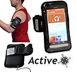 Navitech Black Running / Jogging / Cycling Water Resistant Sports Armband For The Huawei Ascend Mate 7 / Huawei Ascend G7