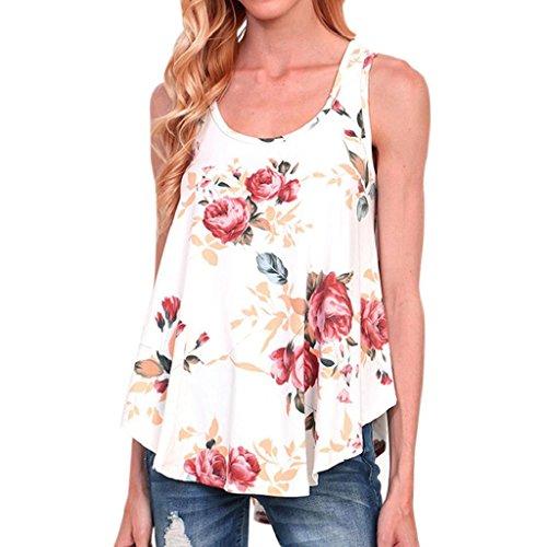 Bekleidung Longra Damen Sommer Bluse Frauen-Blumendruck-T-Shirt Sleeveless Oberseiten O Ansatz Backless Tops Bluse White