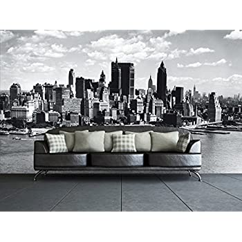 1Wall New York City Skyline Wall Mural, Wood, Black And White, 3.15 X 2.32 M Part 94