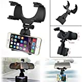 #10: Ceuta Retails, [ Car Rear View Mirror Mount Holder ] Anti Shake Fall Prevention | 360 Degree Rotation | with Anti-Vibration Pads