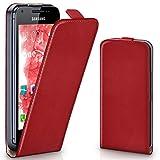 moex Samsung Galaxy Ace 2 | Hülle Rot 360° Klapp-Hülle Etui thin Handytasche Dünn Handyhülle für Samsung Galaxy Ace 2 Case Flip Cover Schutzhülle Kunst-Leder Tasche