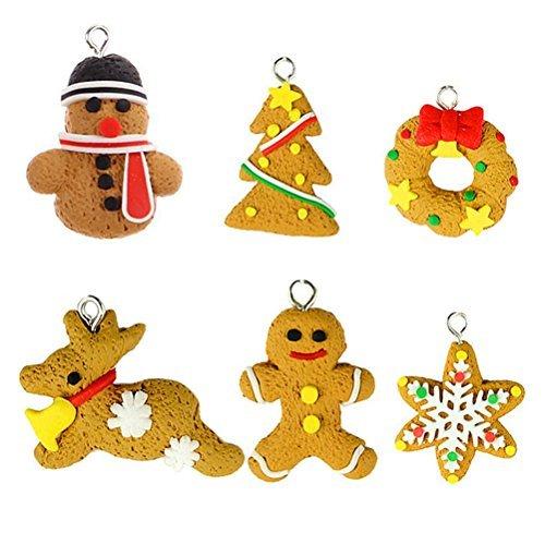 OULII Handmade Cute Cartoon Gingerbread Snowflake Tree Snowmen Ornaments Polymer Clay Pendants Hangning Christmas Tree Decoration 6pcs