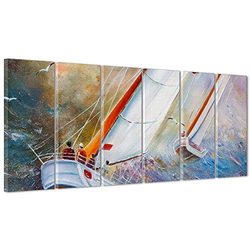 ConKrea Quadro auf Canvas - gerahmt - fertig zum Aufhängen - Länge Rossa - Hand Painted - Gemälde Effekt - Segelboot Dimensione: 190x70cm