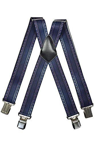 Olata Bretelles motif Toile de Jean, entièrement réglable Extra Fort avec 4 Clips - 4cm. 2 Coutures Denim
