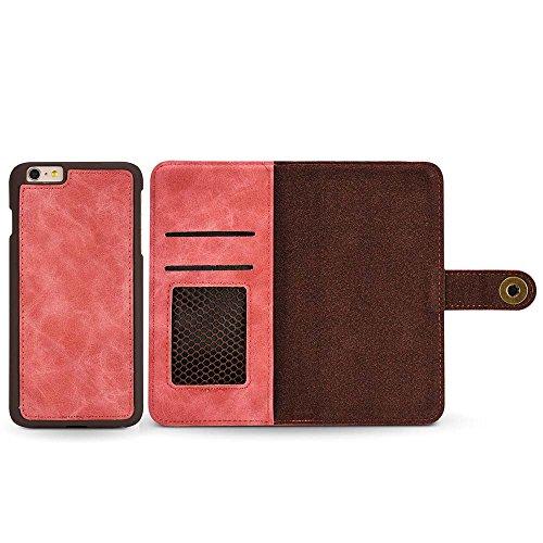 Custodia iPhone 6S / iPhone 6, Dfly [Portafoglio Rimovibile] [Retro Premium Esterno PU Pelle e Apri Pelle Vero di Interno] Cover per iPhone 6S / iPhone 6, Verde Scuro Rosso Rosa