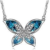 J.RENEÉ 'Mariposa Colgante Azul Marino con Swarovski Elements Crystal, Collares Mujer Joven, Regalos Mujer