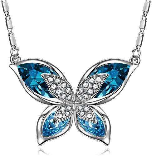 J.RENEÉ 'Schmettering' Schmuck Damen, mit Kristallen von Swarovski, Schmetterlingkette Damen, Halskette Damen, Geschenke für Frauen (Halskette Box Geschenk Schmetterling)