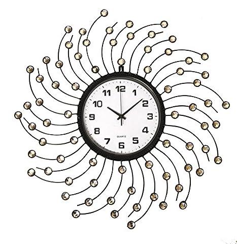 Extra Large Metal Modern Design Diamanté Office Work Home Sun Burst Wall Clock's (Silver Stone Spiral Wall