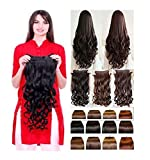 Bigwave 5 Clips Based 24 Inch Curly/Wavy Synthetic Fibre Hair Extension (Dark Brown)
