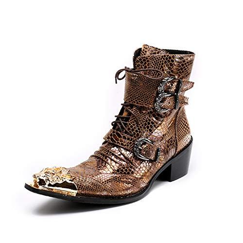 QZMX Boots Herren Stiefeletten Cowboystiefel Gold Lederstiefel Hohe Stiefel Westernstiefel Cowboy Stiefel Leder Knöchel Cuban Heel Metall Spitzschuh Lederschuhe Größe EU 38-46,Gold,EU42/UK8 -