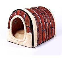 Impermeable Caseta De Perro Perrito Blando Cachorro Gato Gatito Cama Para Mascotas Lavable Perrera Extraíble Cálido
