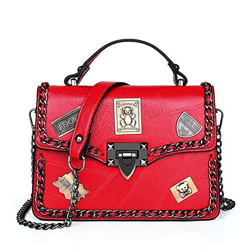 DJKHSDJ Bolso del Día de la Mujer, Bolso con Bandolera con Tachuelas, Bolso Bandolera con Distintivo de Bloqueo, Rojo