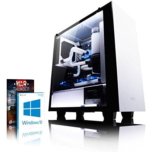 VIBOX Hardline GL780T-1 Gaming PC - 4,5GHz Intel i7 Quad Core CPU, GTX 1080 Ti, leistungsfähig, Wassergekühlter Desktop Gamer Computer mit Spielgutschein, Windows 10, Weiß Innenbeleuchtung, lebenslange Garantie* (4,2GHz (4,5GHz Turbo) Superschneller Intel i7 7700K Kabylake Quad 4-Core Prozessor CPU, Nvidia GeForce GTX 1080 Ti 11GB Grafikkarte, 16GB Crucial Ballistix 2400MHz RAM, 240GB SSD, 2TB Festplatte, Gewohnheit Wasserkühlung, 600W 85+ Netzteil, NZXT Gehäuse, Z270 Mainboard)
