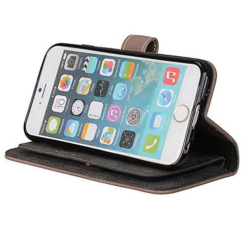 EKINHUI Case Cover Frosted Style Premium PU Leder Geldbörse Hülle Flip Stand Abdeckung Fall mit 9 Card Cash Slot für iPhone 6 & 6s ( Color : Beige ) Beige