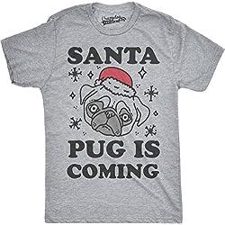 Crazy Dog TShirts - Mens Santa Pug Is Coming Funny Santa Hat Holiday Christmas T shirt (Grey) M - Camiseta Divertidas