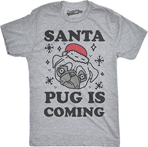 crazy-dog-tshirts-mens-santa-pug-is-coming-funny-santa-hat-holiday-christmas-t-shirt-grey-m-camiseta