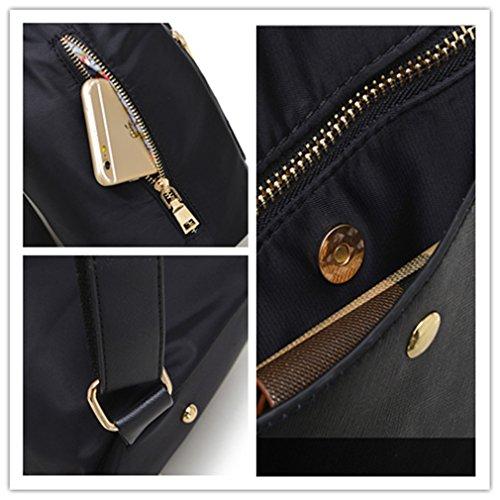 Alla moda da 2 litri, da donna, in Nylon leggero High School Student-Zaino Mini, IPAD, 52 pezzi Nero
