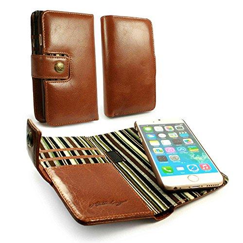 Alston Craig Custodia Tec E-scape portafoglio Magnetico RFID Bloccante di pelle genuino Vintage per iPhone 6 (inc protettore di schermo) - marrone