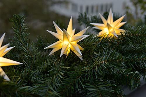 3D LED Sternenkette weiß 3 Sterne 12 cm Batterie Weihnachtsstern Lichterkette Außenstern wetterfest für innen und außen von Dekowelt
