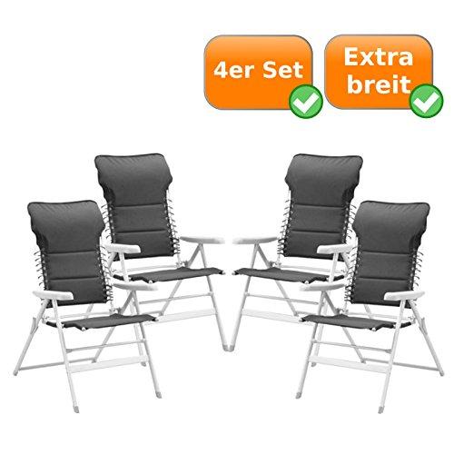 4er Set Faltbare Campingstühle mit extra breiter Sitzfläche, auch als Gartenliegestuhl nutzbar,...