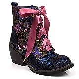Irregular Choice Womens Quick Getaway Metallic Floral Ankle Boots - Blue - 5