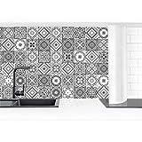 Bilderwelten Revestimiento Pared Cocina - Mediterranean Tile Pattern Grayscale 100x50cm Smart