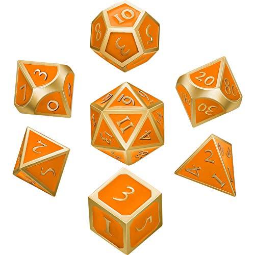 Hestya 7 Stücke Metall Würfel Set DND Spiel Polyeder Solide Metall D&D Würfel Set mit Aufbewahrungstasche und Zinklegierung mit Emaille für Rollenspiele (Golden Rand Orange)