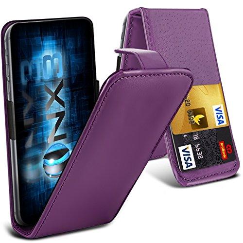 ONX3® (Dark Purple) HTC Desire 700 Fall Universal-Luxuxart Folding PU-Leder Federklemmhalter Top-Schlag- Fall mit 2-Karten-Slot, nach oben und unten Kamera - Desire 700 Handy-fall, Htc