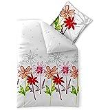 2-teilige Sommer-Bettwäsche | 4-Jahreszeiten 155 x 220 cm | Baumwolle Trend Ayana 2 tlg. | geblümt weiß grau rot
