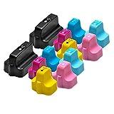 PerfectPrint Compatible Tinta Cartucho Reemplazo Por HP Photosmart 3108 3110 3210 3310 8200 8230 8250 8253 C5140 C5150 C5180 C5183 C5188 (Negro/Cyan/Magenta/Amarillo/Cyan-claro/Magenta-claro, 12-Pack)